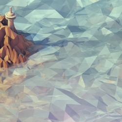 Isometric, low-poly views of little 3D worlds.