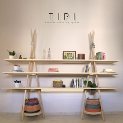 Tipi, unique shelving system by Assaf Israel for Joynout, deals with elements of nomadism, and ease with which one can assemble, disassemble, move, and rebuild.