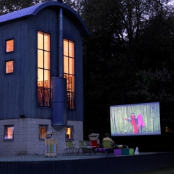 Fashion designer and presenter of Top Design Todd Oldham has created an impressive outdoor home cinema.