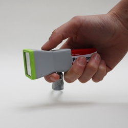 The 'Standard' lamp torch is just an extension of the battery and change aspect every time that we change the brand of the battery. The 9v battery is also the handle, reducing the amount of material used.  A glow in the dark paint has been applied to the top edge and on the sides indicating the polarities.