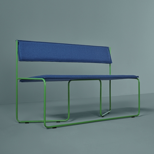 Trampolín is a three-seater bench designed by Cuatro Cuatros for Missana which stands out of the crowd with its unique twist of the Bauhaus-inspired structure.