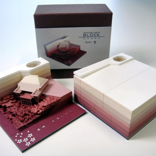 "Ingenious note pad designs by Triad. The Omoshiro Block (or ""fun block"") is made with laser-cutting technology and contains hidden objects and scenes that only become visible as the note paper is used"