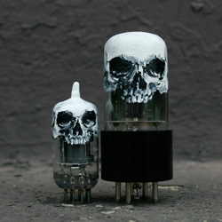 Hand painted vintage vacuum tubes by Skull-A-Day's Noah Scalin.