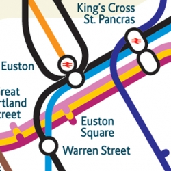 A new version of the London Underground map with stations positioned geographically designed by Mark Noad.