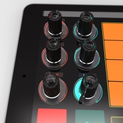 Tuna Knobs, Stick 'em to your tablet and it's a controller! Want to make music anywhere, but also want physical controls? BOOM! Tuna Knobs turn every touchscreen into a MIDI / DJ controller.