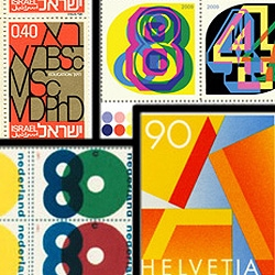 A collection of typographic postage stamps from around the world.