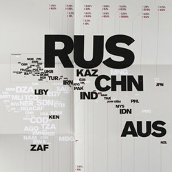 Harry Pearce and Jason Ching's posters for the United Nations Office on Drugs and Crime highlights drug treatment and rehabilitation around the world. The typographic solution built a simple world map from internationally recognised country abbreviation codes.