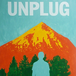 "UNPLUG - new poster by right brain terrain ~ ""Those who contemplate the beauty of the earth find reserves of strength that will endure as long as life lasts.""  - Rachel Carson   UNPLUG    the blog... UNPLUG could be the first painting with its own blog (?). The blog features the ironical use of technology to upload snapshots of natures's wonders. Visit the blog!   INQUIRIES For pricing or representation inquiries contact... We [at] RightBrainTerrain [.] com"