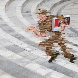 "Ogilvy & Mather Jakarta have created this ambient campaign for UPS Express Delivery by visualising ""speed"" in the form of art installations placed around the city in public places."
