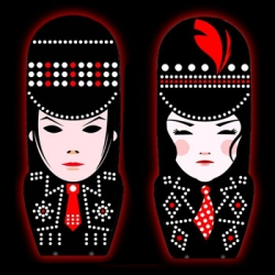 White Stripes are releasing their latest album on what resemble mimobots of Jack and Meg.