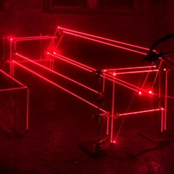 """Last April UVA (United Visual Artists) created """"Speed of light"""" for Virgin Media to celebrate the tenth anniversary of broadband in the UK. One of the several light installations  featured a mesmerizing laser living room."""