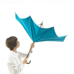 Kajimoto Hiroshi's UnBRELLA is an umbrella created by reverse thinking that turns umbrella stereotypes on their heads.