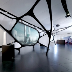 Une Architecture, an exhibition of the work of Zaha Hadid Architects at the Mobile Art Pavilion.