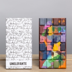 UNELEFANTE x Chef Jorge Llanderal collaborate for a color bursting collection of artisan chocolate bars.