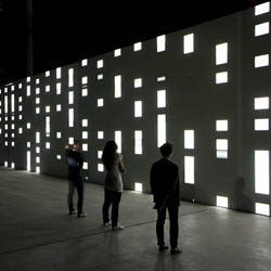 "Carsten Nicolai's audiovisual installation ""unidisplay"" currently in Milan."