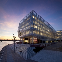 The new energy efficient Unilever HQ in Hamburg, Germany is designed to be a vertical village by Behnisch Architekten.