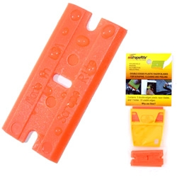 "Scraperite makes PLASTIC razorblades ~ from softest being their ""general purpose"" to polycarbonate in blue and acrylic in yellow for all your scraping needs!"