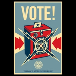 Shepard Fairey's call to action ~ VOTE! Posters will be available of both these Vote! posters as well as his new Obama posters ~ and proceeds from this print go to produce prints for a large statewide poster campaign.