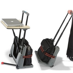 Luggage cart that turns into a little laptop table? Awesome? Borderline silly, but would be great for conventions and such.