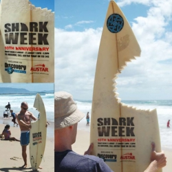 Original advertisement for Discovery Channel 's documentary Shark Week on the beaches of Sydney