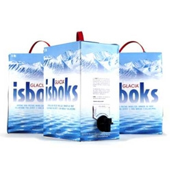 Glacia ISBOKS : premium, super-tasty, pH perfect  water in a tote-able, 5L biodegradable BOX!  Inner bladder, handle and spigot are recyclable.  One-way valve eliminates contamination and extends shelf life.
