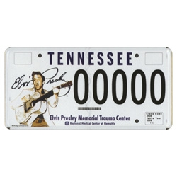 Elvis  license plate now available to Tennessee drivers.  Almost 3 years in the making and supports the Elvis Presley memorial Trauma Center. Rare signed artist proof of this license on eBay.