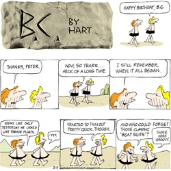 """Happy 50th to comic B.C. by Hart! Fun to see how they've evolved from their """"parade float"""" days."""
