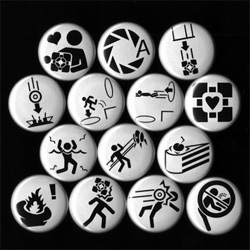 Awesome Aperture Science Portal Buttons with signage/stick figures doing all kinds of craziness in black and white ~ from Slevin11