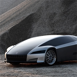 The Quaranta concept car, all wheel drive, VERY fast, 2 electric motors, solar charging, v6 with big V8 power.  This is an über hybrid with a 600+ mile cruising range.