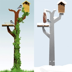 Vogelboomhut by Maandag meubels ~ birdhouse/tree made of steel, and perfect all year round!