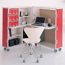 Trunk Station ~ steamer trunk on the outside, fully functional desk and shelves on the inside!