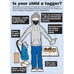 Is your child a tagger? Hahahaha... wow. From the city of Santa Ana, there is a diagram of all the components of being a tagger... from the hoody, to the black sketchbook and fat markers...
