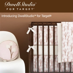 Dwell Studio launches a baby line of furniture and linens for Target! Adorable prints as always, and even cute cribs, glider/rockers, and changing table... nice and affordable.