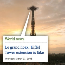 JUST KIDDING! Apparently the Eiffel Tower Extension is a fake... but wait, before you hate us... even the NY Times fell for it!!! I guess its an early april fools?