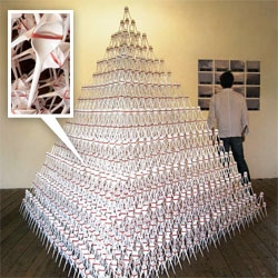 """MAD - Museum of Arts and design ~ Jill Townsley's piece """"SPOONS"""" looks incredible. Wow... constructed from over 9,000 plastic spoons and over 3,000 rubber bands"""