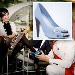 Opel Agila's high-heel shoes do indeed exist. Designed by Luca Stappers, they were unveiled on April 2 during a special party at the SHOEBALOO shoe shop in Amsterdam.