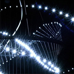 A twisting strand of 216 LEDs suspended by a thin wire, that is Robin Carpenters Spiralight. That, and 1st prize winner at Lights of the Future 2006 awarded by the German Design Council