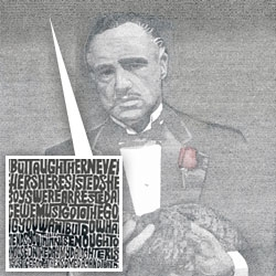 A Poster from the Godfather created using the ENTIRE movie script. (The website has a larger poster, where you can see it better)