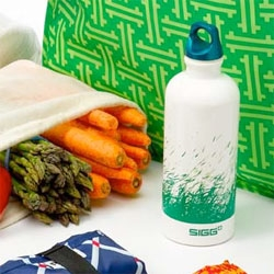 "Happy Earth Day! On ways to go green - i'm loving this bright grassy spring sigg bottle! It's a custom design part of the Delight ""Green As Can Be BOLD & BRIGHT Gift Set"" that comes with a starter set of reusable shopping bags."