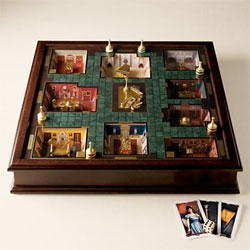 "Clue ~ the premier edition... with actual 3D ROOMS! ""Wood-paneled game box encloses nine sunken rooms, each rendered in precise detail, right down to the furnishings"""