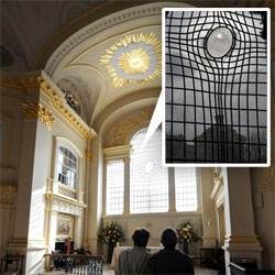 "St. Martin's gets a makeover ~ with this incredible distorted looking window... ""The East Window, by artist Shirazeh Houshiary, shows the rippled image of a cross as if it were being seen reflected in water"""