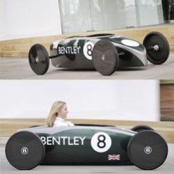 "Bentley is stepping into the ""green"" market with their Continental DC electric car. Looks very much like a soap box racer!"
