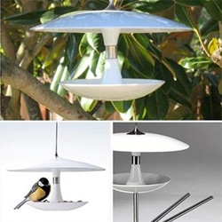 "cantina bird feeder by flo viererbl - made of fine porcelain with steel accents and a 34"" cord"