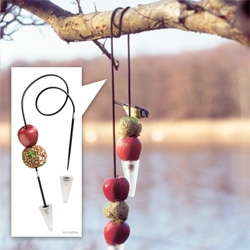 The Menu Feeder String - The cord has hard plastic tips, making it easy to thread balls or other foods, such as apples, onto the cord. Interesting alternative to standard bird feeders...