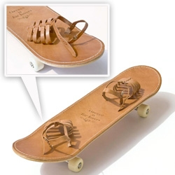 """Greece Is For Lovers"" Skateboard.... built in leather deck shoes!!! Its kind of like snowboarding bindings... that are sandals?"