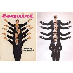 esquire recently asked some of the world's most influential fashion designers to recreate some of the magazine's most iconic covers. the project was initiated to celebrate the magazine's 75 anniversary.