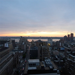 As the ICFF/NY Design Week madness dies down ~ here's the sunset out of the bathroom window