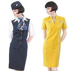 A collection of stewardess uniforms from all over the world.