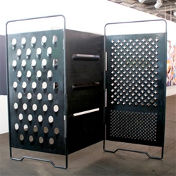 'paravent' by mona hatoum at art basel 2008 - a space divider for those who really love their cheese graters... or grating other larger things...
