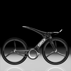 Oryx is an innovative time trial bike concept with a one-sided fork and chain-stay. Due to its Y-frame shape, it's comfortably shock-proof without loosing ground contact. Designer: Harald Cramer